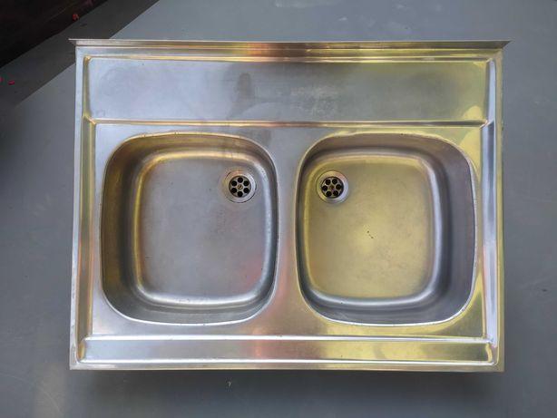Zlew kuchenny dwukomorowy z syfonem
