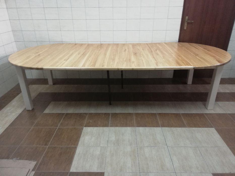 Stół 150 + 4 x 45 okrągły rozkładany z drewna dębowego dodatkowe nożk Bydgoszcz - image 1
