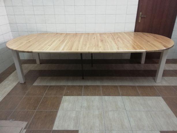 Stół 150 + 4 x 45 okrągły rozkładany z drewna dębowego dodatkowe nożk