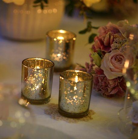 Złote świeczniki na tealighty, 20 sztuk