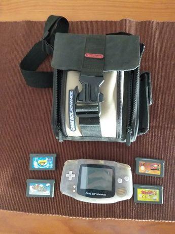 Gameboy Advance consola 4 jogos e Mala transporte