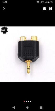 Alta Qualidade 3.5mm Stereo M. Para 2X RCA F. Adaptador conector