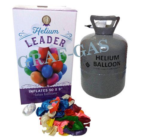 Hel helowa butla gazowa z helem 0,42m3 na 50 balonów + balony wstążka