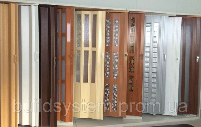 Дверь гармошка сдвижная пластик ассортимент доставка из Днепра