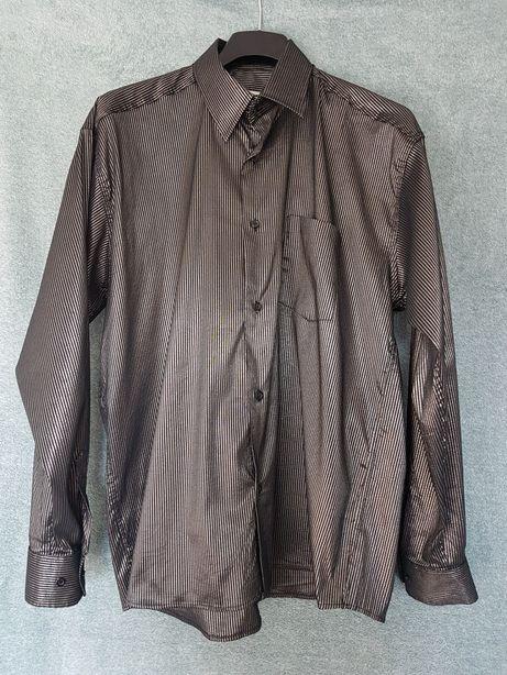Koszula męska, długi rękaw, czarno-złoto-srebrna r. XL