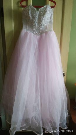 Платье нежно-розового цвета для торжества 44-48 размер