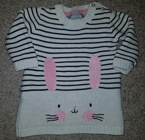 PRIMARK dłuższy sweterek z królikiem jak nowy 62