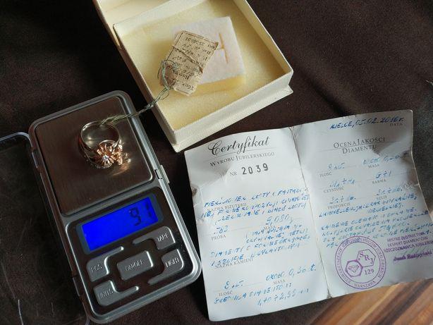 Pierścionek z DIAMENTAMI 0.36ct CERTYFIKAT NOWY kwiat złoto pr.583 14k