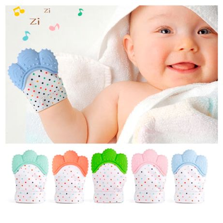 Luva de Silicone Mordedor para Dentição do Bebé