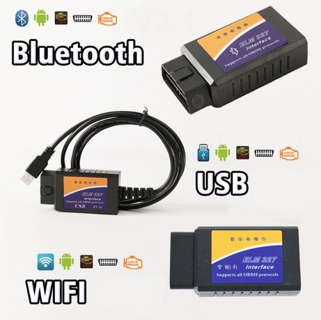 Диагностический Адаптер ELM327 Bluetooth Wifi 1.5v OBD сканер ошибок