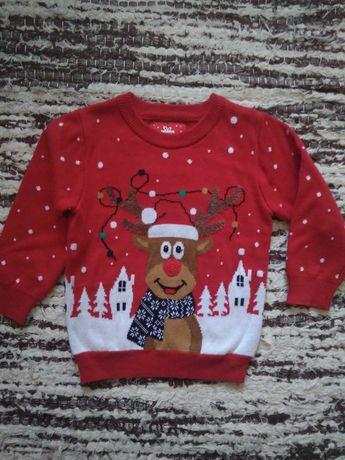 Sweter sweterek świąteczny nowy z metką Primark 12-18 miesięcy 86cm