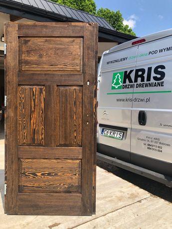Drzwi lite zewnętrzne drewniane postarzane olejowane OD RĘKI KRIS
