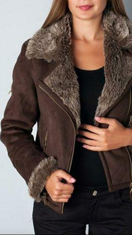Красивая искусственная куртка-дубленка