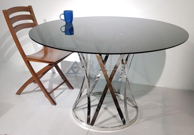 Стол круглый обеденный для кухни ресторана кафе хром черный стекло