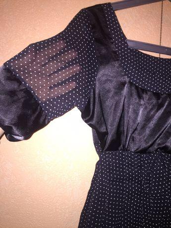 платье черное мелкий горох нарядное на подкладке шифон с атласом на по