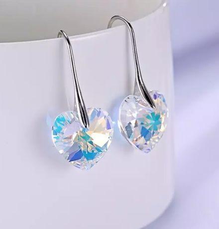 Kolczyki Swarovski Elements Crystal AB serca serduszka WALENTYNKI nowe