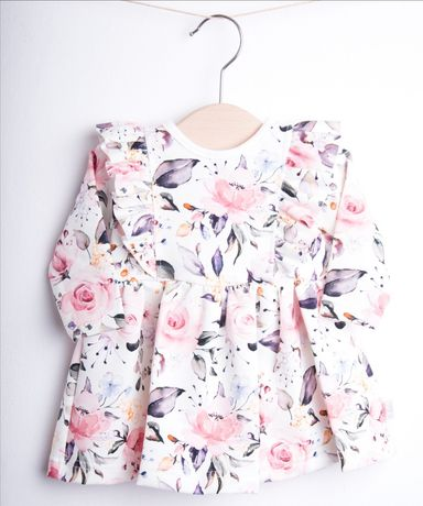 Urocza sukienka w kwiaty 62/68 idealna