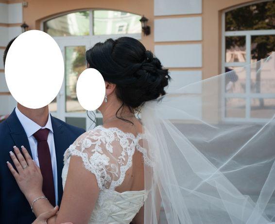 Шифоновое свадебное платье нежное цвет айвори сукня для весілля изящьн