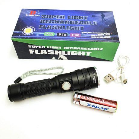 2 режима! Ручной фонарик аккумуляторный BL-611-P50, XHP50, Zoom, USB З