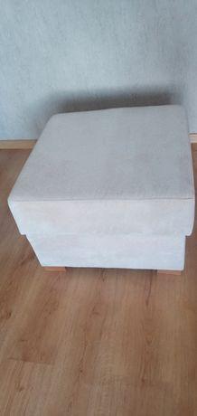 Pufa siedzisko kremowe 60x60 z pojemnikiem