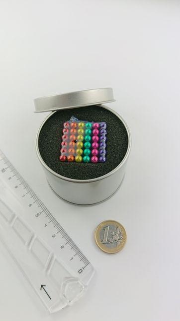 Neocube kulki magnetyczne klocki 5 mm kolory tęczy + box metal