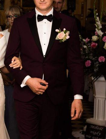 Smoking ślubny garnitur ślubny zjawiskowy burgund, bordowy