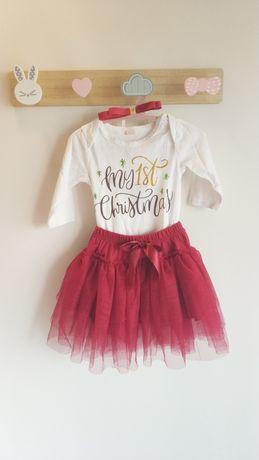 Conjunto roupa 1° Natal bebé menina 70 cm