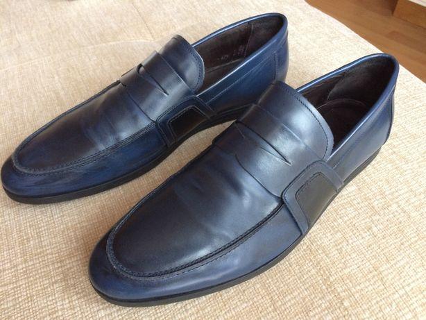 Loafersy Vistula buty wizytowe granatowe skórzane Made in Italy 43