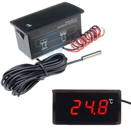 Termómetro digital com sonda, de embutir, 220V ou 12V, decimal