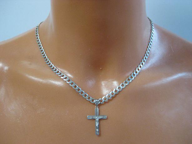 Łańcuszek męski pancerka zawieszka krzyż łańcuch srebro 51cm
