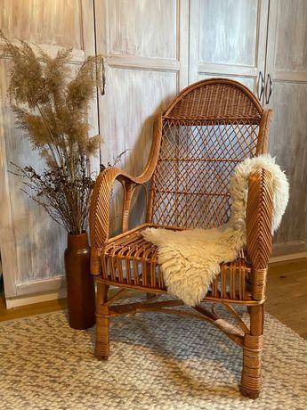 Krzesło/fotel boho z wikliny/wiklinowy nowy