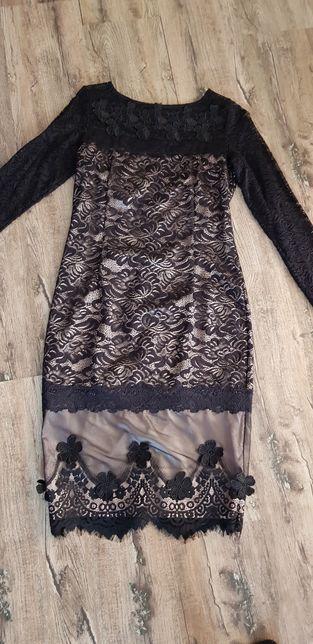 Платье черное гепюр