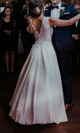 muślinowa biała suknia ślubna rozmiar 34