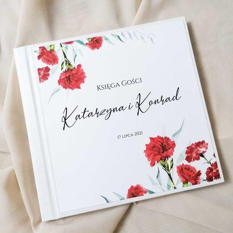 Piękna księga gości na wesele - CZERWONE GOŹDZIKI