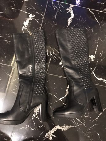 Шкіряні чоботи демісезон ботинки сапоги