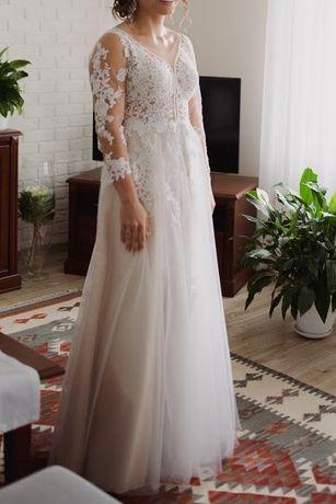 Suknia ślubna z długim rękawem + welon