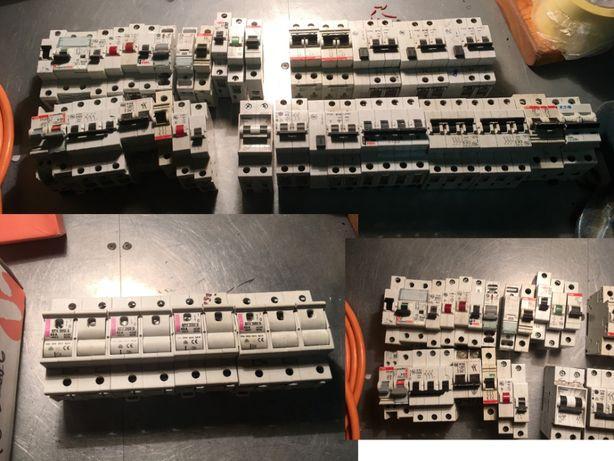 Bezpiecznik /rozłącznik/ wyłącznik różnicowoprądowy nadprądowy ~40 szt