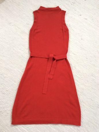 Solar sukienka czerwona dzianinowa za kolano z paskiem S XS