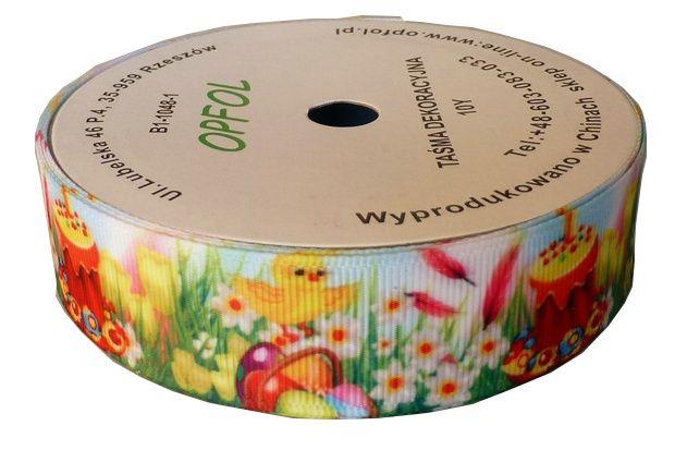 Tasiemka wielkanocna wielkanoc jajeczka wiosenna wstążka taśma 25mm 9m