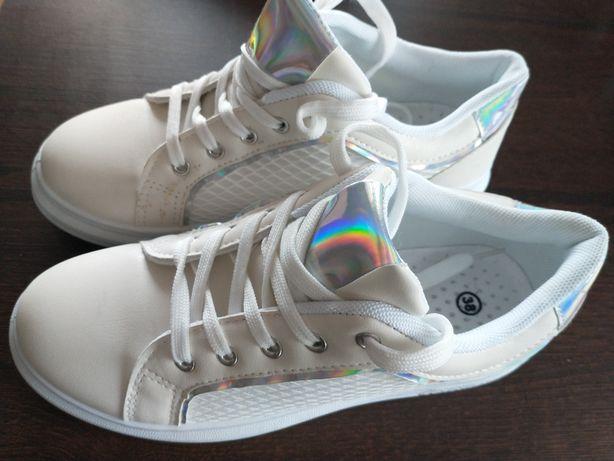 Adidasy białe błyszczące brokat neonowe