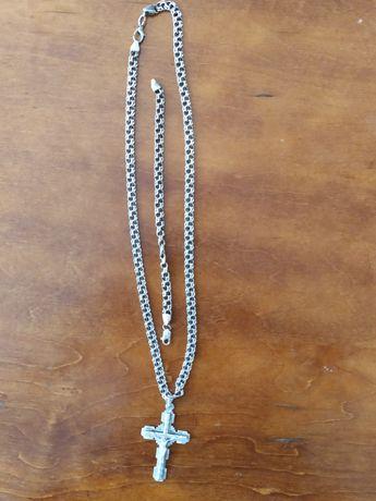 Набор серебряный цепь крест браслет