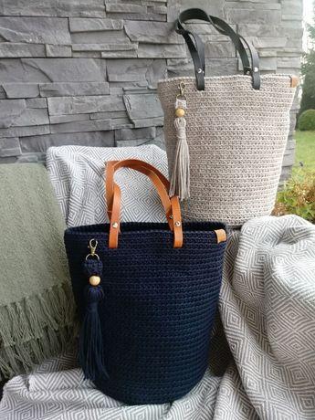 Torba ze sznurka pakowna na ramię rekodzieło NOWA handmade