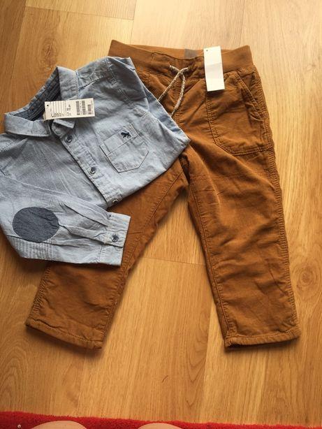 H&M spodnie i koszula 92 nowe