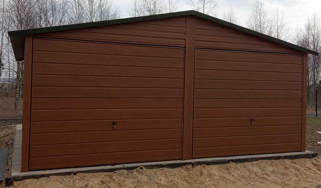 Garaż blaszany drewnopodobny orzech,złoty dąb 6x5