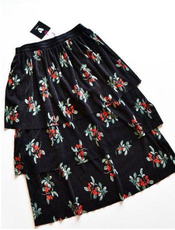 Роскошная черная юбка плиссе в цветах и с воланами 38 размер