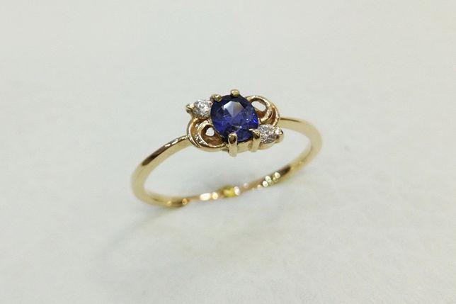 Złoty pierścionek z cyrkoniami 585 r. 16 -CHORZÓW- Zapytaj o rabat!