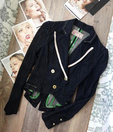 Пиджак фрак черный джинсовый с хвостом приталенный жакет