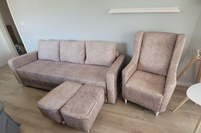 Odsprzedam nowy zestaw -  kanapa, fotel, dwa podnóżki - meble salon