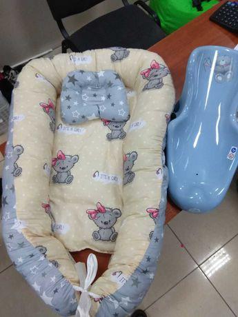 Кокон гнездышко с подушкой для новорожденных