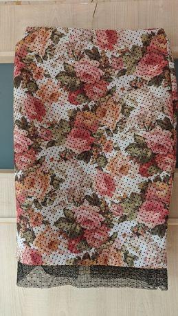 Spódnica Zara Trafaluc kwiaty koronka 36